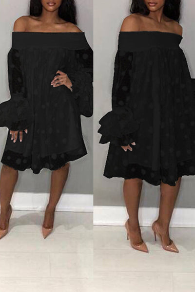 Pomiss Stylish Off The Shoulder Horn Sleeve Knee Length Dress