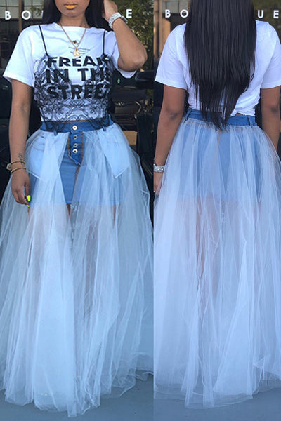 Pomiss Stylish Gauze Patchwork Denim Floor Length Skirt