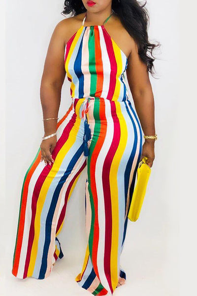 Pomiss Sexy Halter Neck Striped Printed Jumpsuit