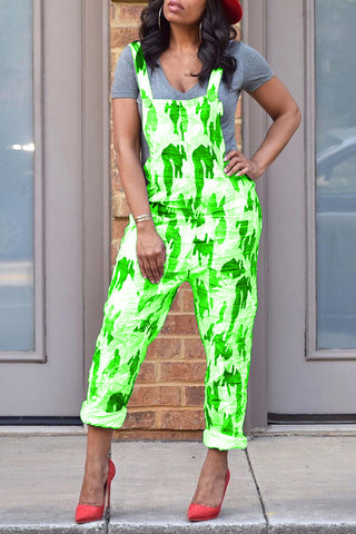Pomiss Casual Printed Green One-piece Jumpsuit