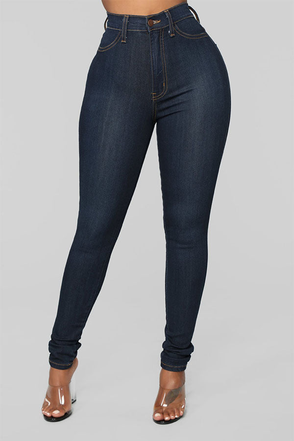 Pomiss Stylish High Waist Zipper Design Jeans