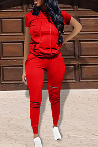 Pomiss Casual Hooded Collar Broken Holes Red Two-piece Pants Set
