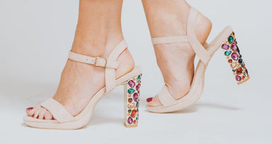 Beige Suede Sandal With Jewelled High Heel - Franklins