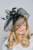 Black Netted Pillbox With Feather Detail Fascinator - Franklins