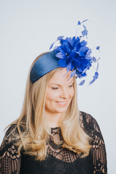 Blue Feather Flower Satin Hairband Fascinator - Franklins