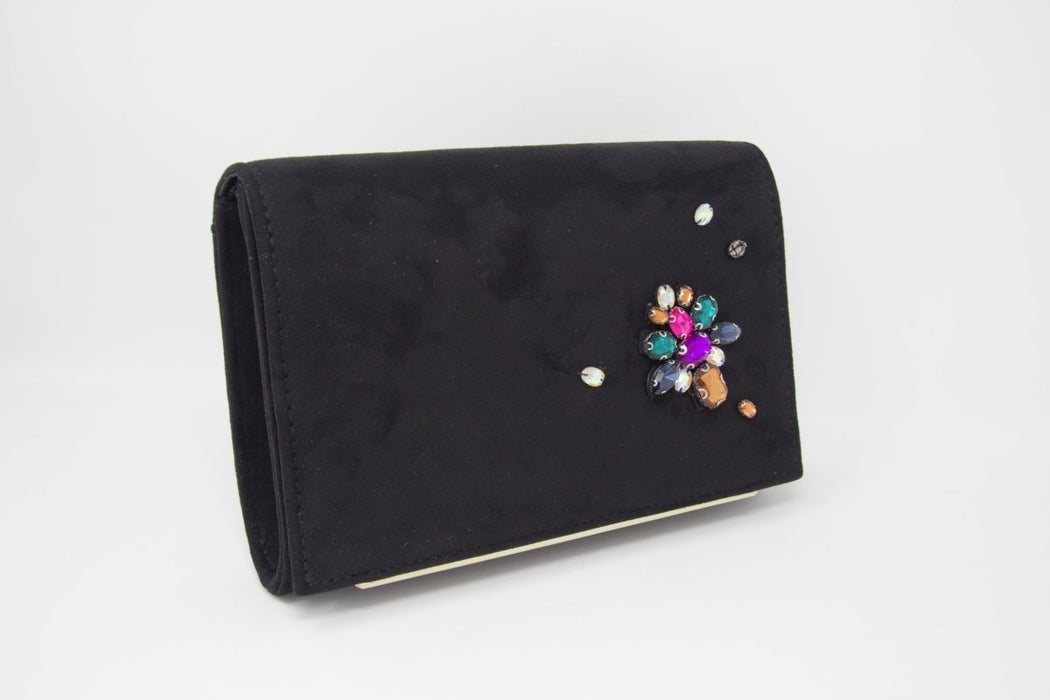 Coloured Gem Suede Clutch Bag - Franklins