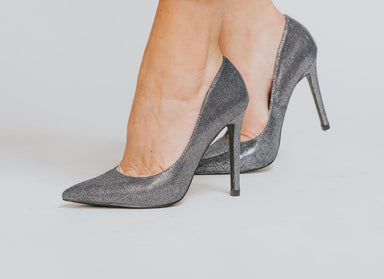 Denim Blue High Heel Stiletto Court Shoes - Franklins