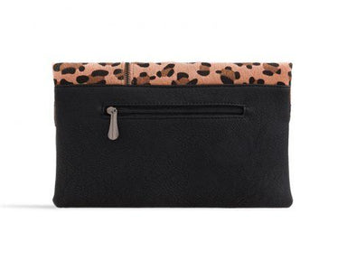 Faux Hair Leopard Print Clutch Bag - Franklins