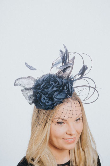 Flower Feather And Net Pillbox Style Fascinator - Franklins