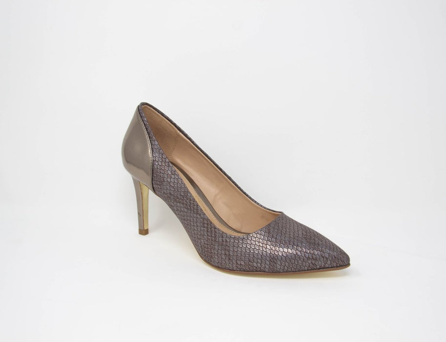 Glamour Cynthia Pewter Pointed Toe Court Shoes - Franklins