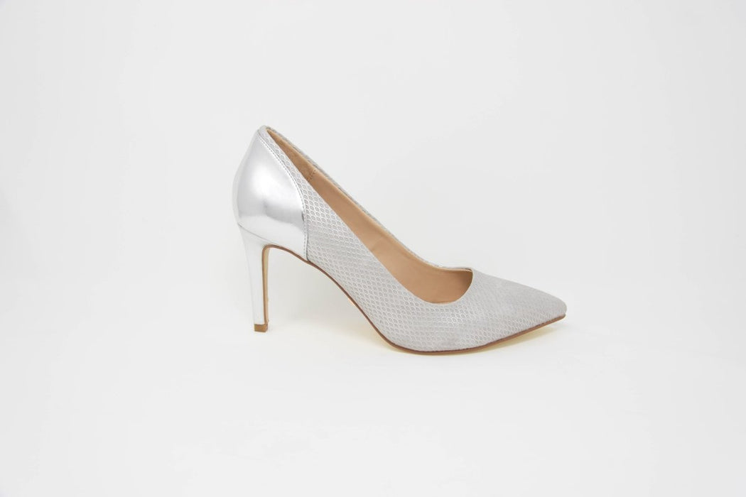 Glamour Cynthia Silver Pointed Toe Court Shoes - Franklins