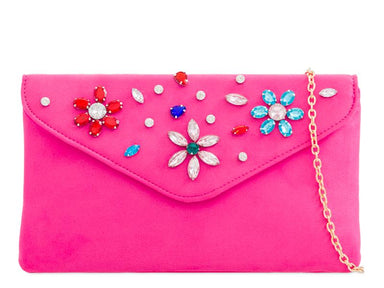 Hot Pink Crystal Embellished Clutch Bag - Franklins