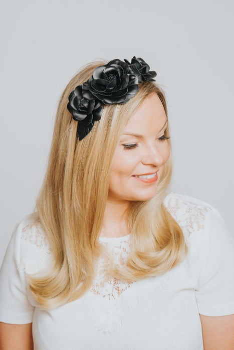 Navy Flower Embossed Hairband - Franklins