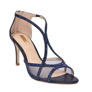 Navy Jewel Stiletto Heel Sandals - Franklins