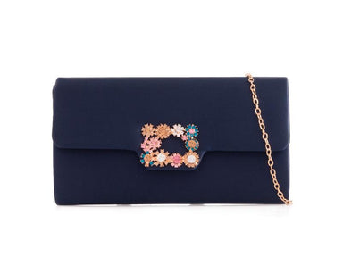 Navy Satin Clutch Bag - Franklins