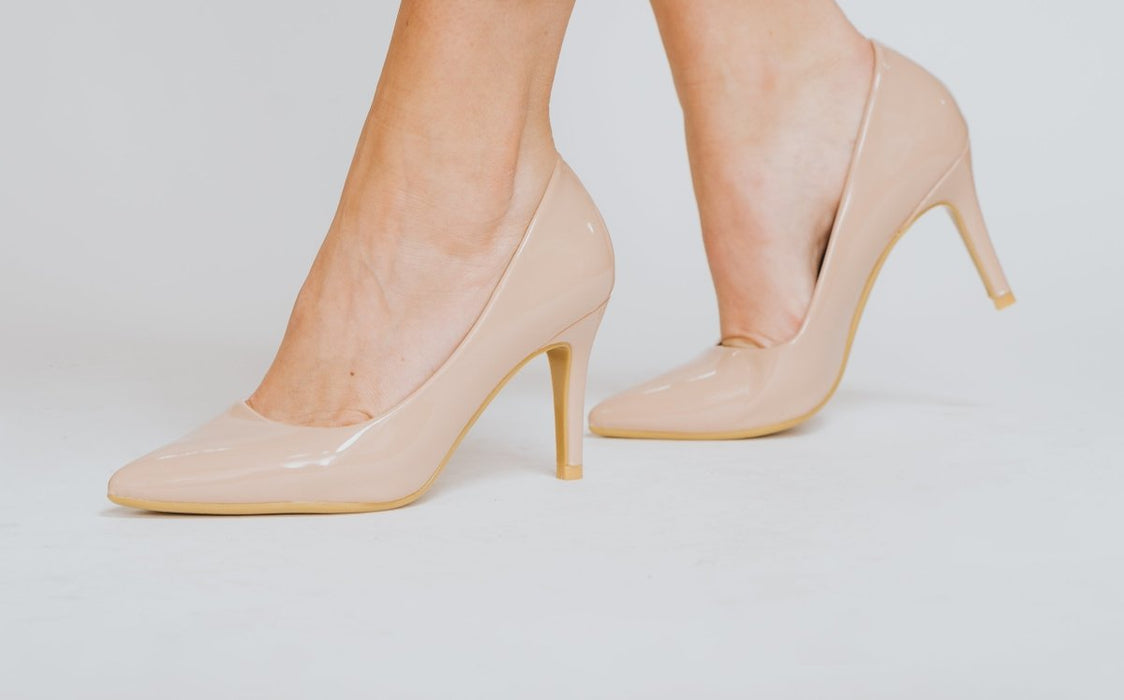 Nude Patent Mid High Heel Court Shoes - Franklins