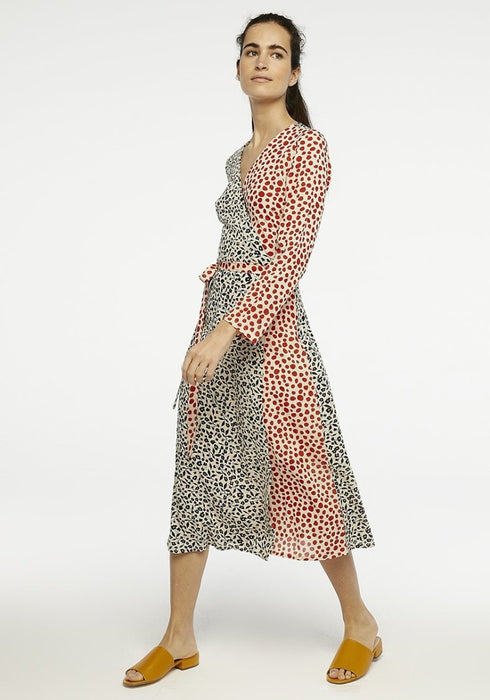 Patchwork Print Wrap Midi Dress - Franklins