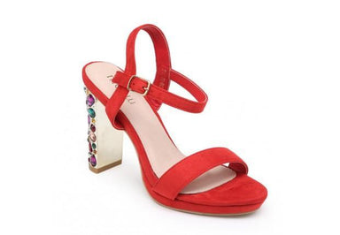 Red Suede Sandal With Jewelled High Heel - Franklins