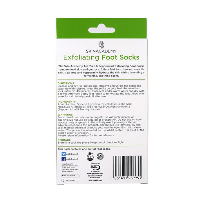 Skin Academy Exfoliating Foot Socks Tea Tree & Peppermint - Franklins
