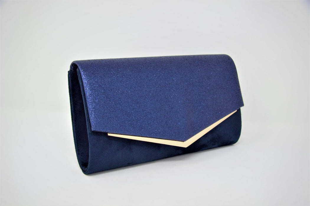 Sparkle & Suede Gold Trim Clutch Bag - Franklins