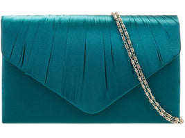 Teal Satin Clutch Bag - Franklins