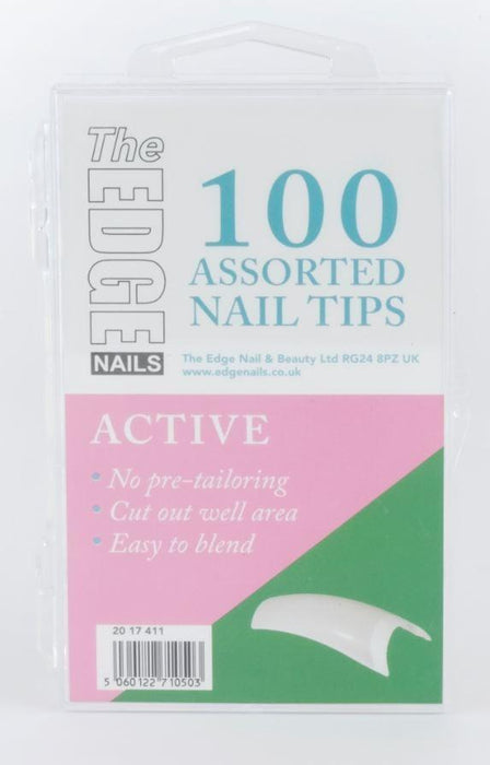 The Edge Active Nail Tips Box Of 100 Assorted Tips - Franklins