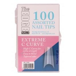 The Edge Nails Extreme C Curve Nail Tips 100 Assorted Pack - Franklins