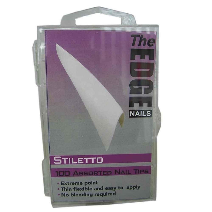 The Edge Nails Stiletto French White Nail Tips 100 Assorted Pack - Franklins