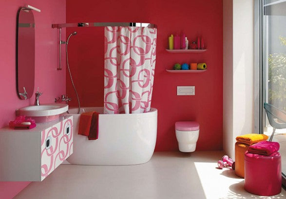Pink vibrant bathroom