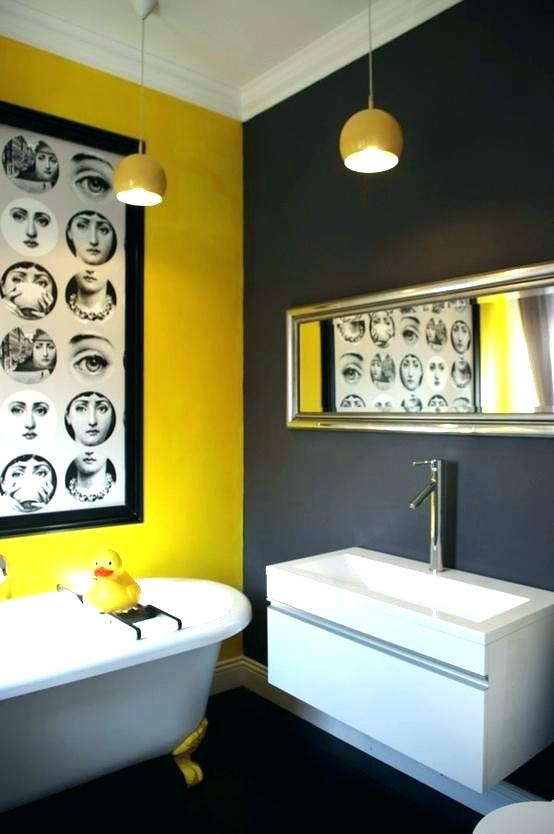 Sunny yellow and black themed bathroom.