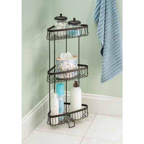 3 Tier freestanding corner shower caddy equipped with rubber gripped feet.