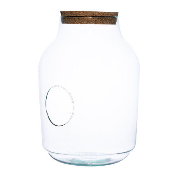 Large terrarium jar with hole