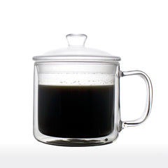 Double Walled Glass Coffee Mug with Lid 400ml - 70ty's Mug