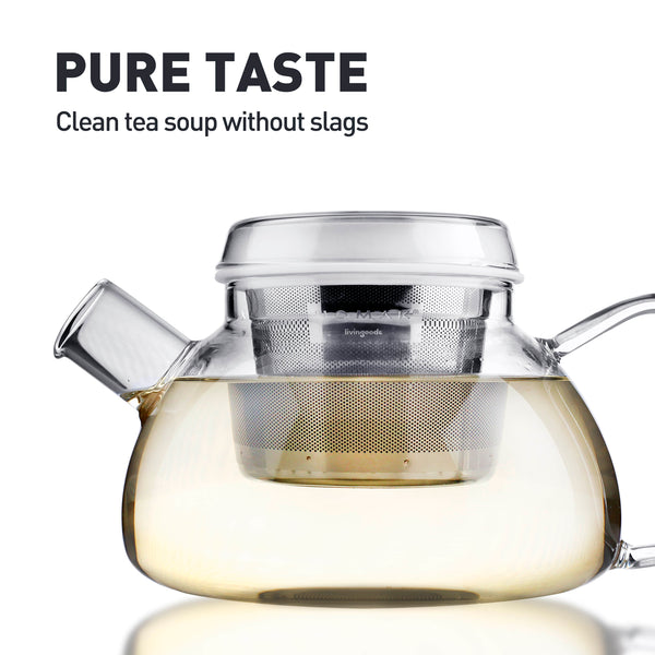 HOMAK - Glass Teapot / Coffee Pot (1100ml / 37oz) with Double Layer Infuser and Lid