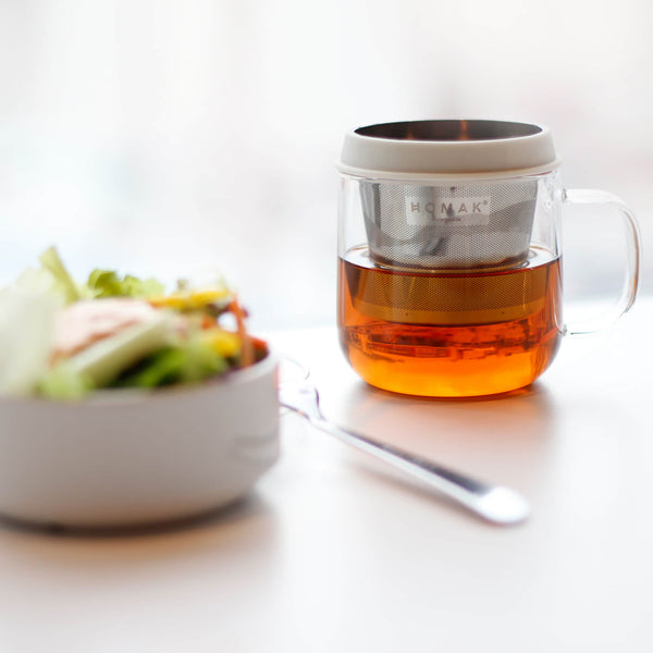 HOMAK - Glass Tea / Coffee Mug with Double Layer Infuser and Lid
