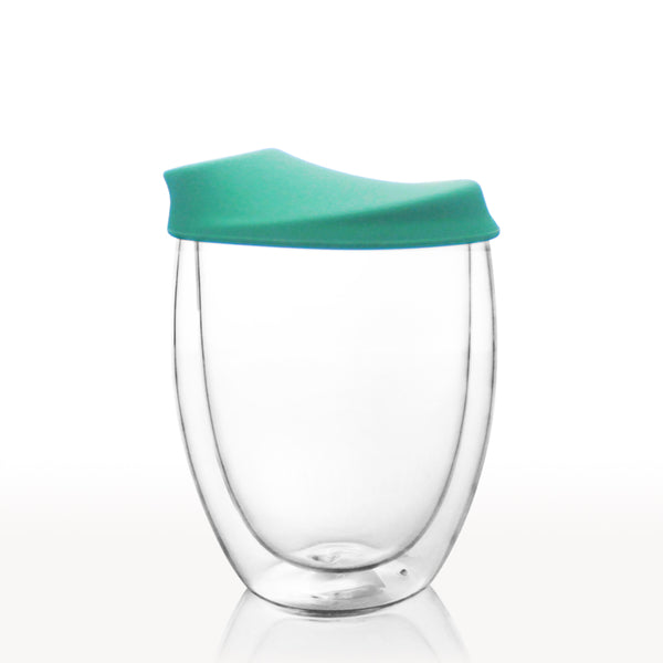 Double Walled Glass Tumbler with Silicone Lid 400ml - Oeko