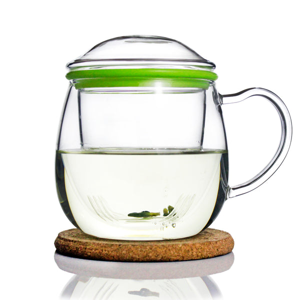 Glass Tea Mug with Infuser and Lid 385ml - Zeo