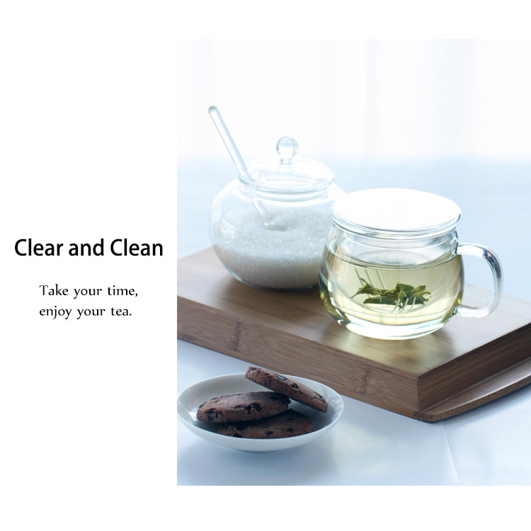 Glass Tea Mug with Infuser and Lid 300ml - Olvera