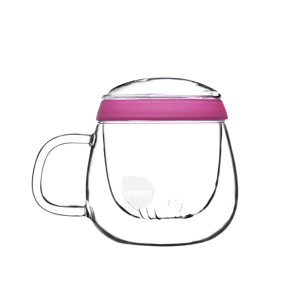 Glass Tea Mug with Infuser and Lid 500ml - Valentine