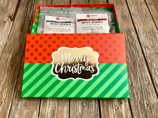 Beef Jerky Gift Box Christmas Theme with 44 Farms Simply Smoke, 44 Farms Texas Kick, and Snack Pak 4 Kids Sticks