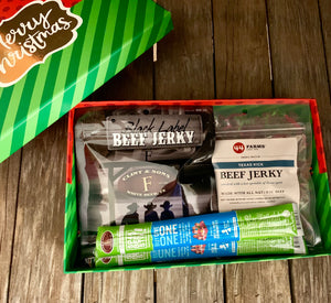 Beef Jerky Gift Box Christmas Theme Clint & Sons Black Label, 44 Farms Texas Kick, and Snack Pak 4 Kids Sticks