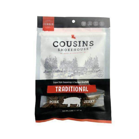 Cousins Traditional Pork Jerky 2.85 oz package, gluten free, extra tender, high protein, easy to chew tough to quit.