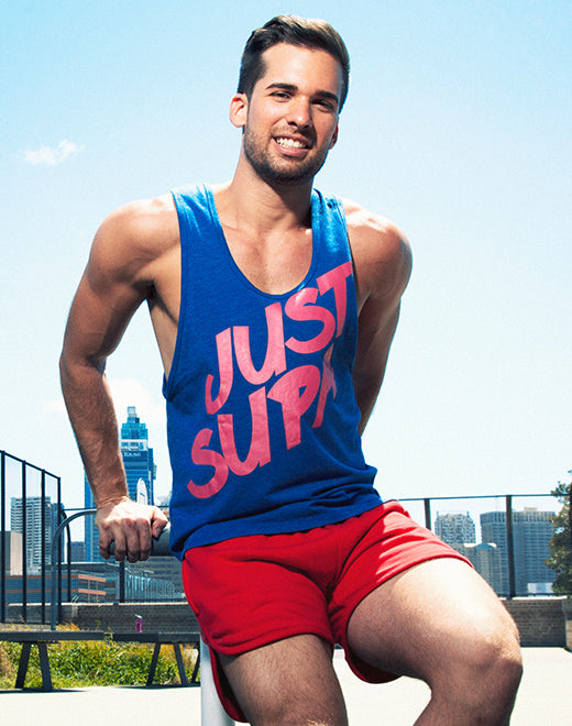 Just Supa Singlet - Navy Marle