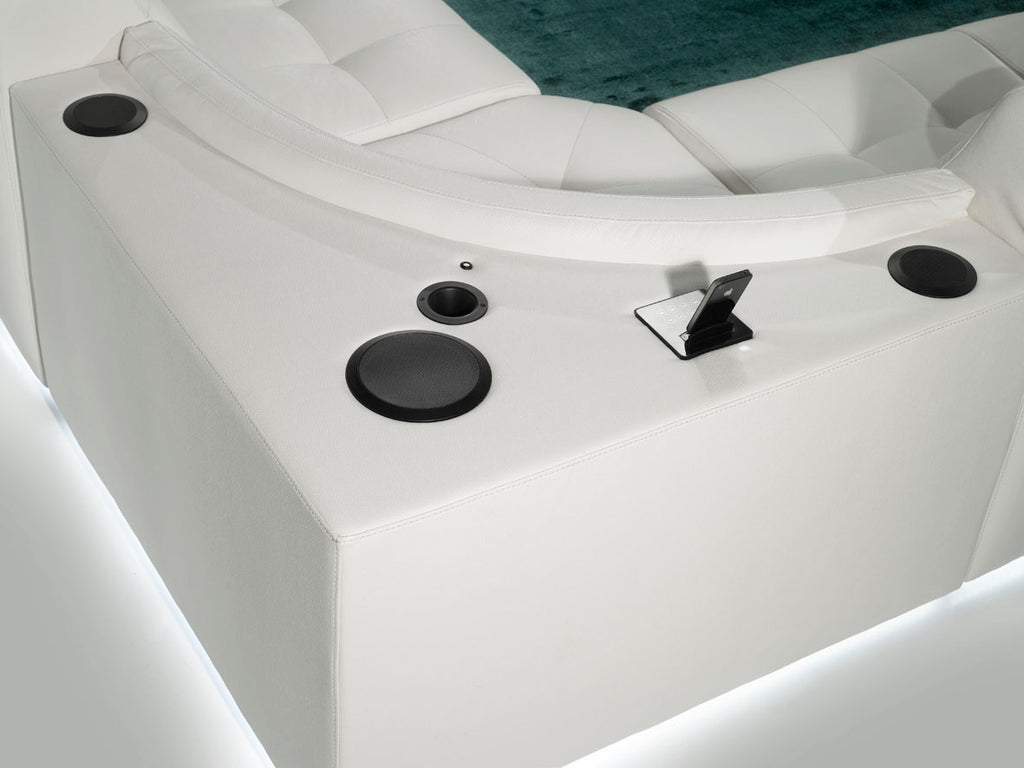 Sound system with docking station Built-in into the Sofa