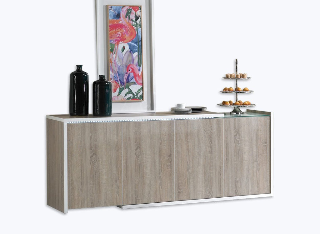 Baia Sideboard in with oak panels, partial glass top feature, 4 doors and LED Illumination.