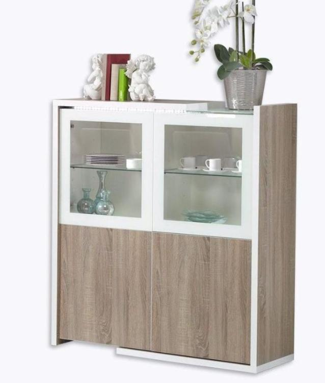 Baia 4 Door bar Cabinet, glass shelves and LED Illumination. Features Oak Panels.
