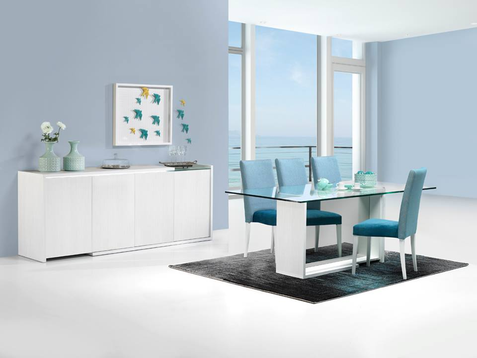Baia glass top dining table with central leg with mirror. Baia sideboard in white with LED lighting.