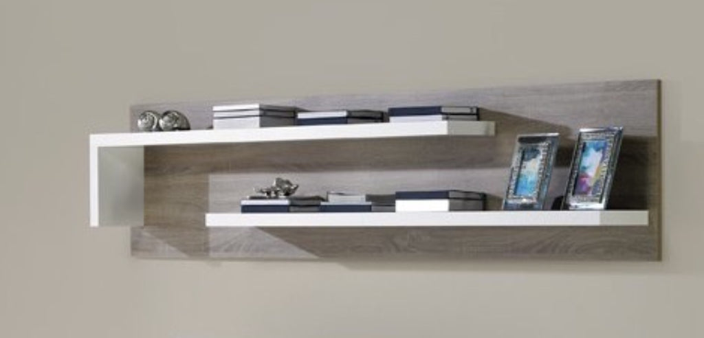 Baia Upper Shelf- Oak And White Finish with Wood Grain