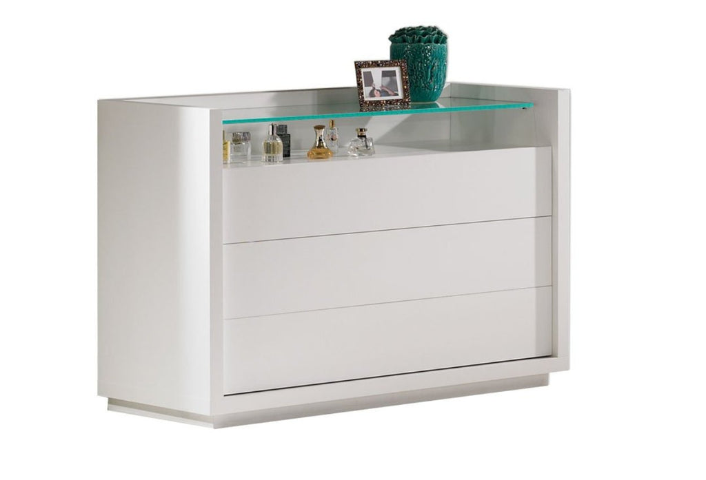 Paris Chest of drawers with glass shelf.