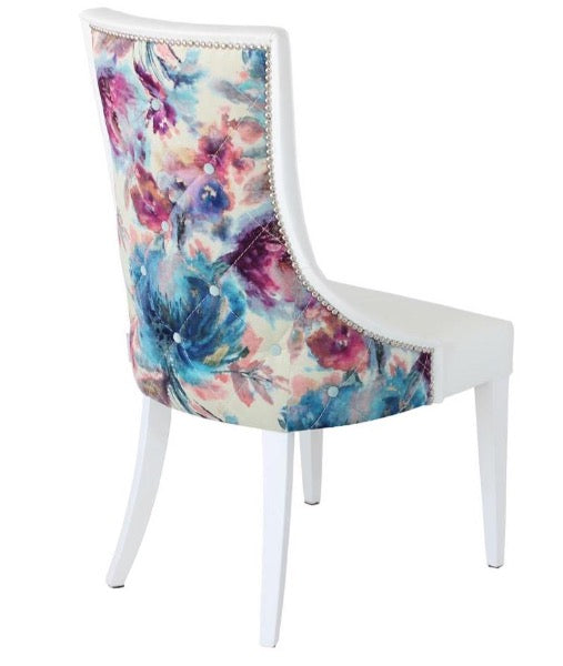 Genève Chair - Velvet Floral Back with Buttons